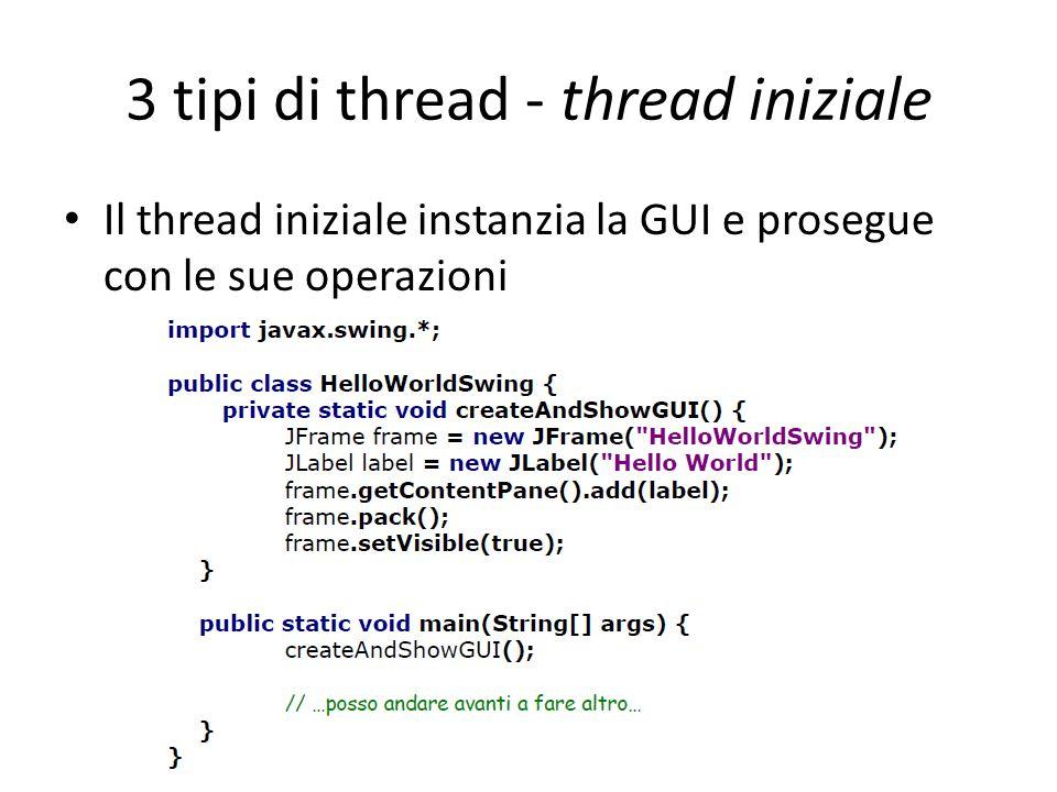 3 tipi di thread - thread iniziale
