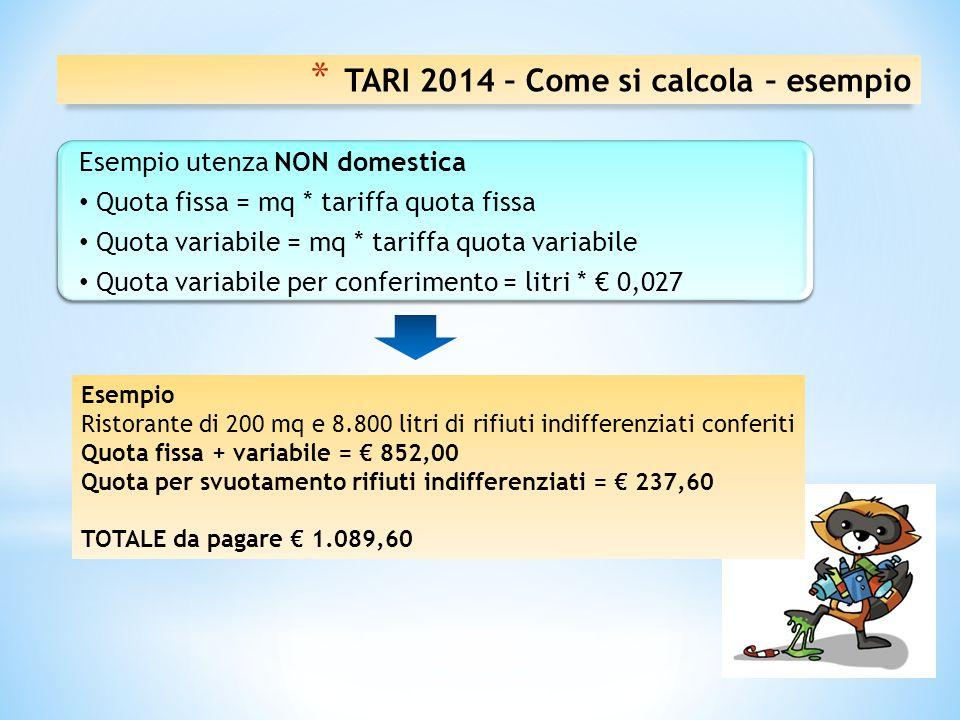 TARI 2014 – Come si calcola – esempio