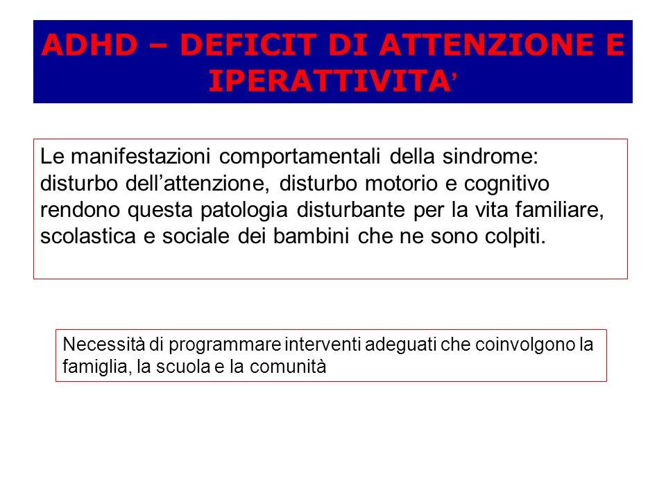 ADHD – DEFICIT DI ATTENZIONE E IPERATTIVITA'