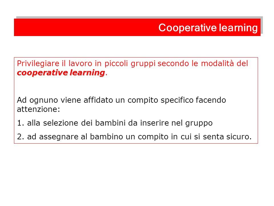 Cooperative learning Privilegiare il lavoro in piccoli gruppi secondo le modalità del cooperative learning.