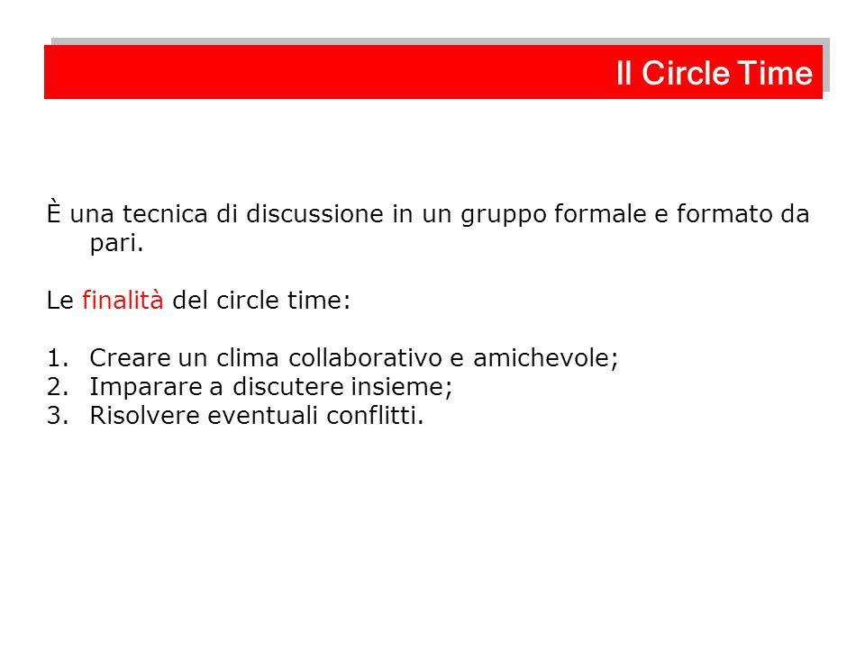 Il Circle Time È una tecnica di discussione in un gruppo formale e formato da pari. Le finalità del circle time: