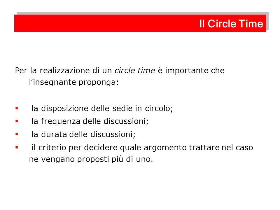 Il Circle Time Per la realizzazione di un circle time è importante che l'insegnante proponga: la disposizione delle sedie in circolo;