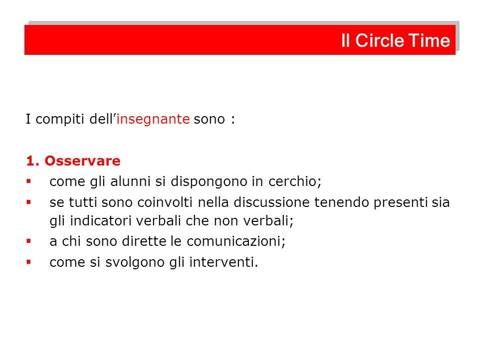 Il Circle Time I compiti dell'insegnante sono : 1. Osservare
