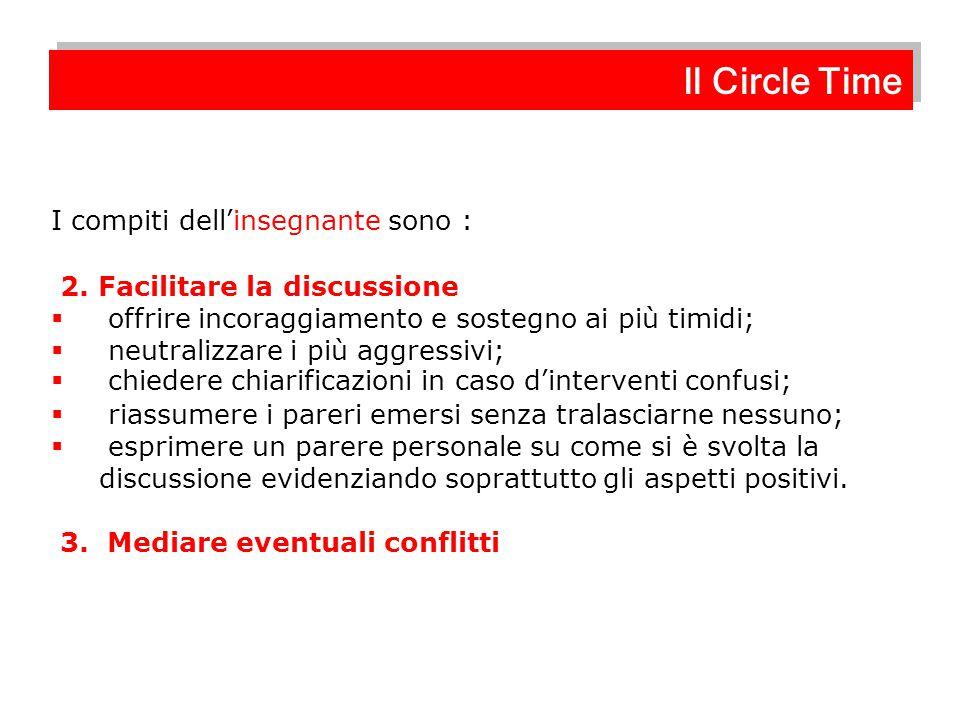 Il Circle Time I compiti dell'insegnante sono :
