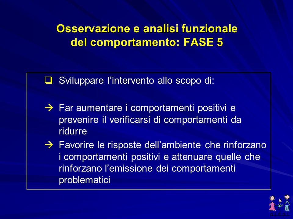 Osservazione e analisi funzionale del comportamento: FASE 5