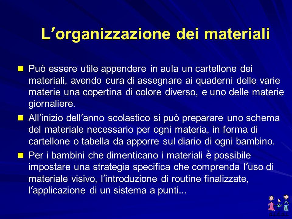 L'organizzazione dei materiali