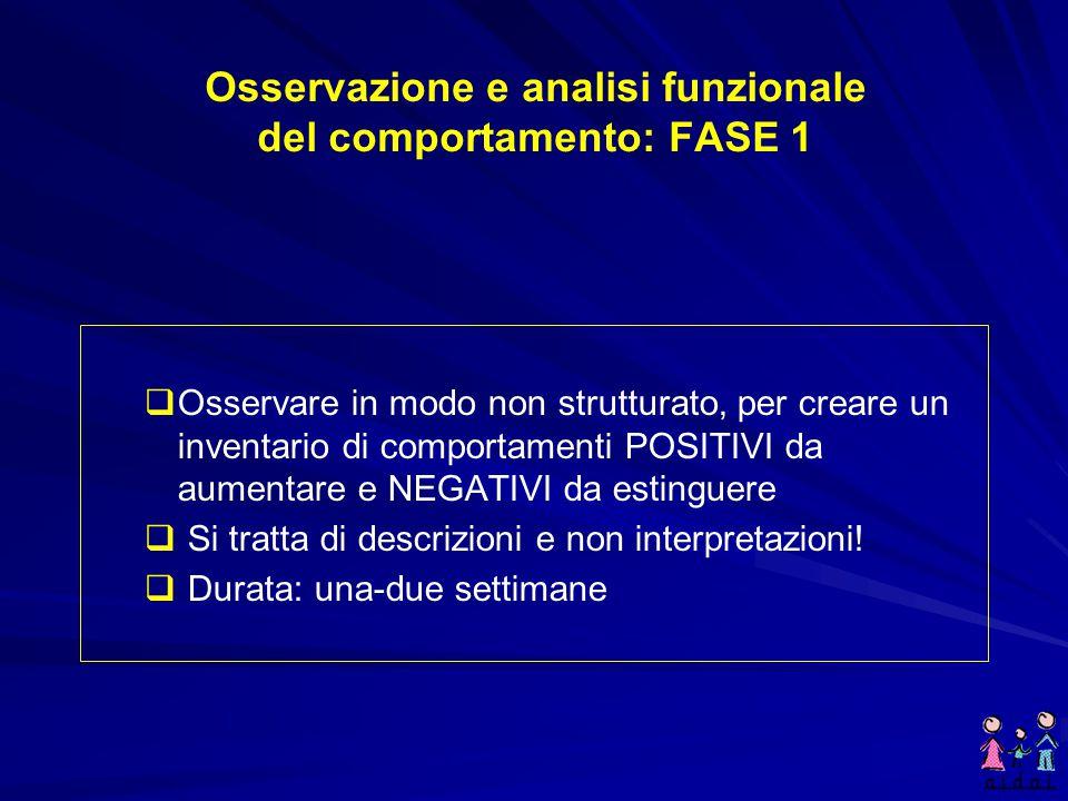 Osservazione e analisi funzionale del comportamento: FASE 1