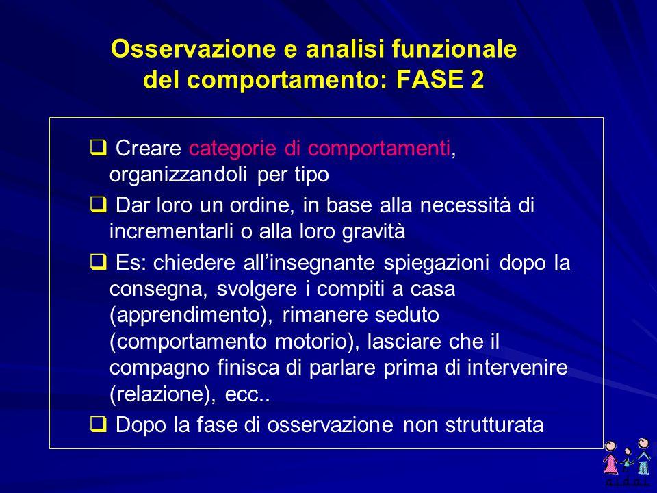 Osservazione e analisi funzionale del comportamento: FASE 2