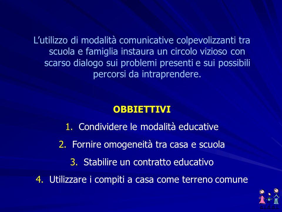 Condividere le modalità educative Fornire omogeneità tra casa e scuola