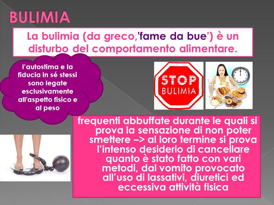 BULIMIA La bulimia (da greco, fame da bue ) è un disturbo del comportamento alimentare.