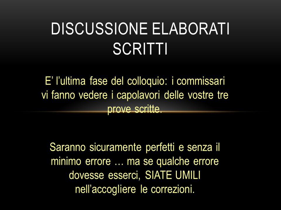 Discussione elaborati scritti