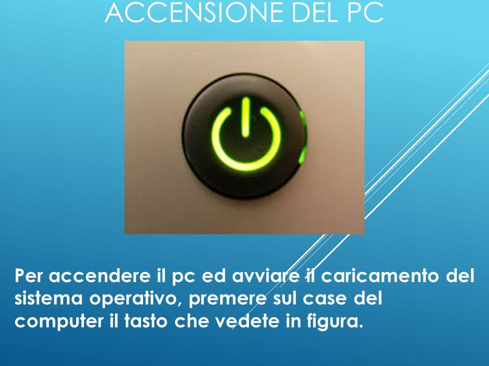 Accensione del pc Per accendere il pc ed avviare il caricamento del sistema operativo, premere sul case del computer il tasto che vedete in figura.