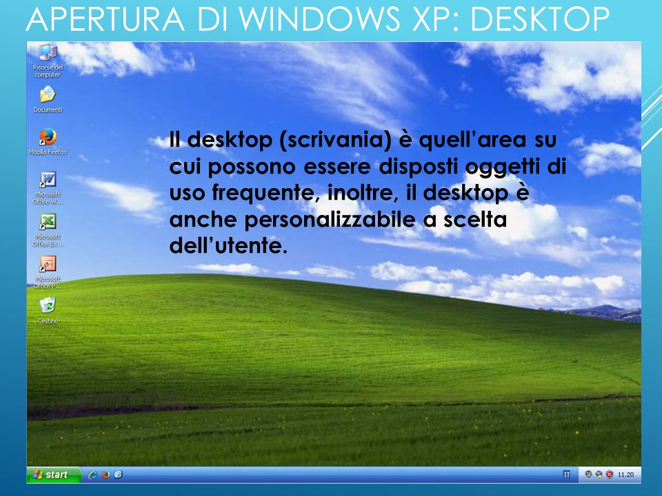 Apertura di Windows XP: Desktop
