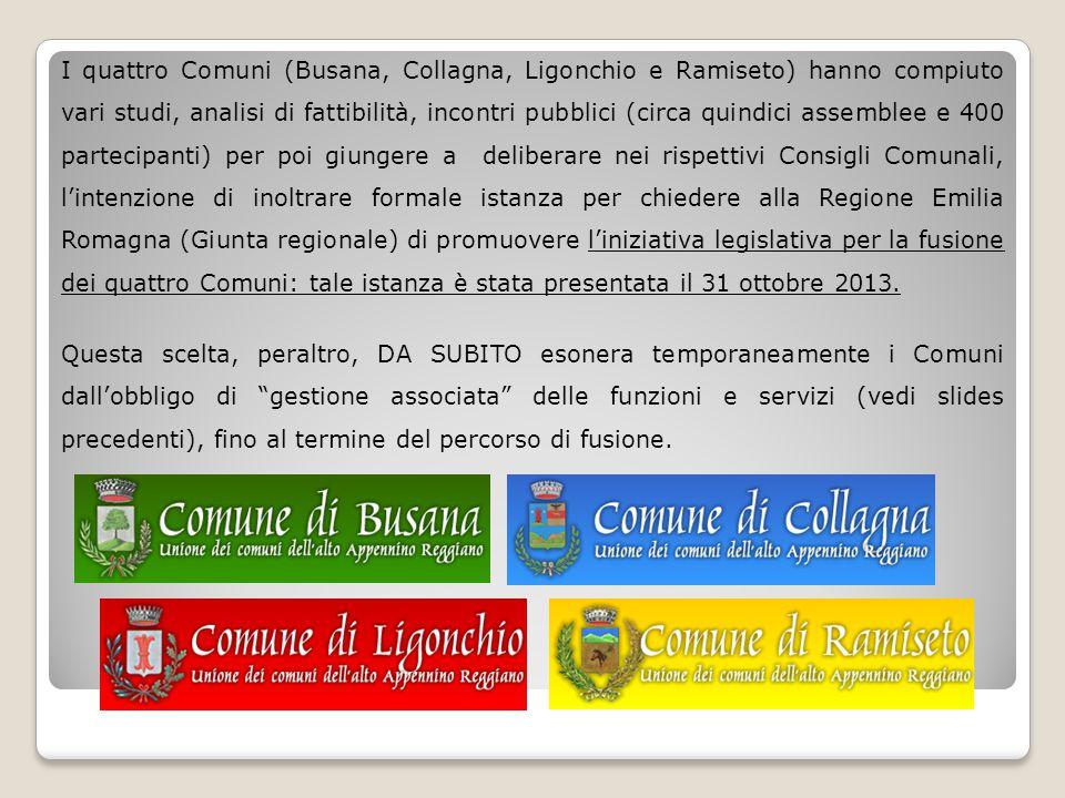 I quattro Comuni (Busana, Collagna, Ligonchio e Ramiseto) hanno compiuto vari studi, analisi di fattibilità, incontri pubblici (circa quindici assemblee e 400 partecipanti) per poi giungere a deliberare nei rispettivi Consigli Comunali, l'intenzione di inoltrare formale istanza per chiedere alla Regione Emilia Romagna (Giunta regionale) di promuovere l'iniziativa legislativa per la fusione dei quattro Comuni: tale istanza è stata presentata il 31 ottobre 2013.