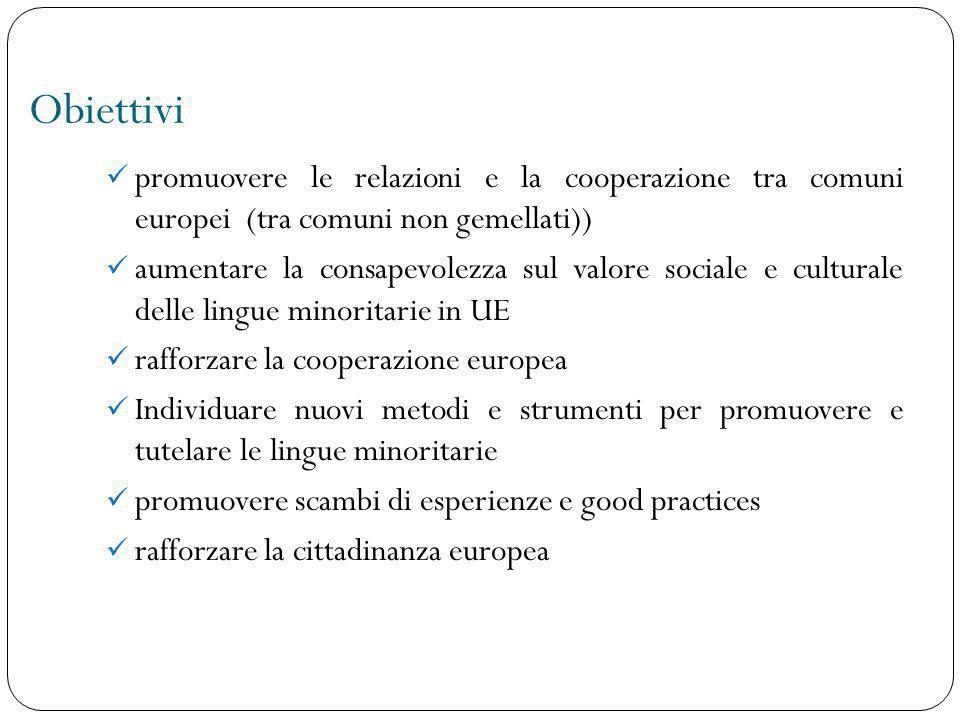 Obiettivi promuovere le relazioni e la cooperazione tra comuni europei (tra comuni non gemellati))