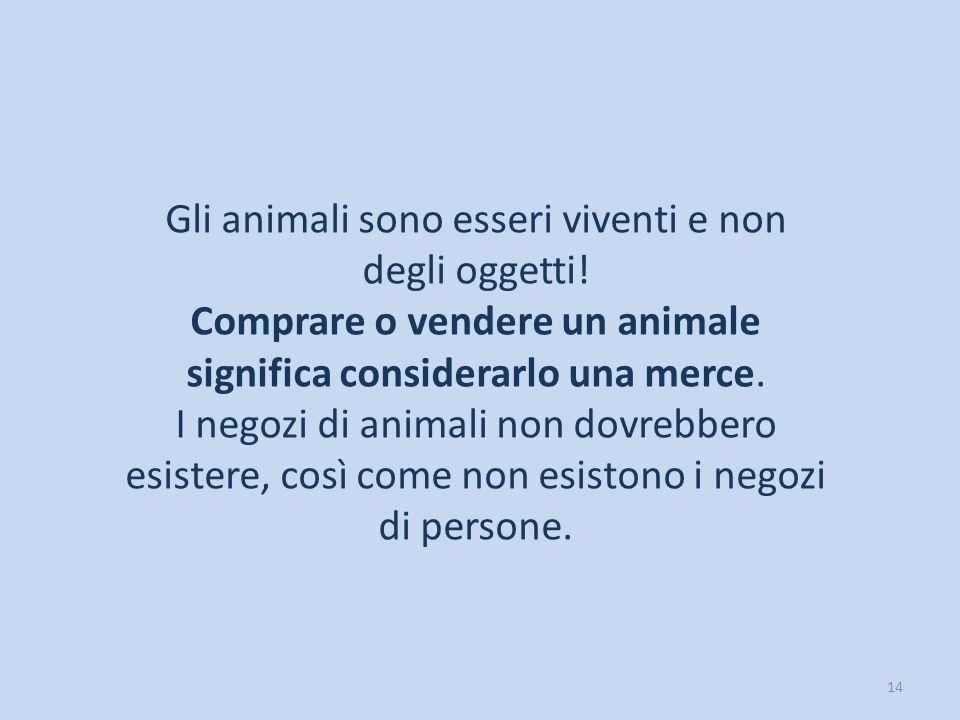 Gli animali sono esseri viventi e non degli oggetti!