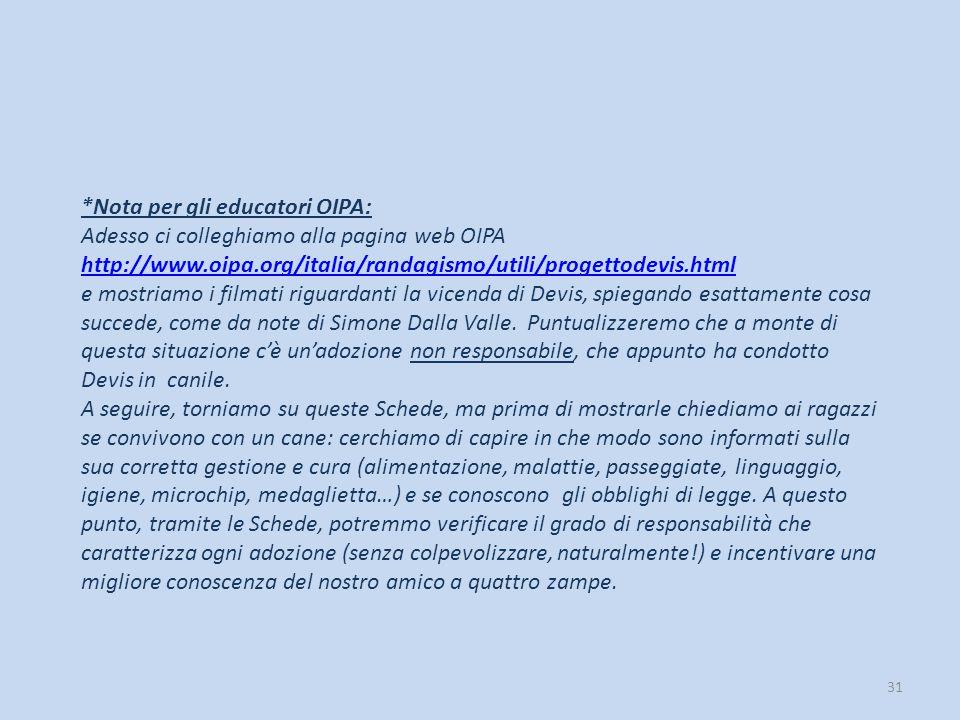 *Nota per gli educatori OIPA: