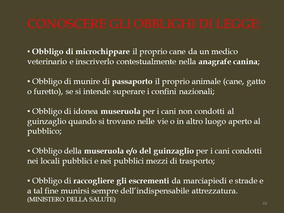 CONOSCERE GLI OBBLIGHI DI LEGGE: