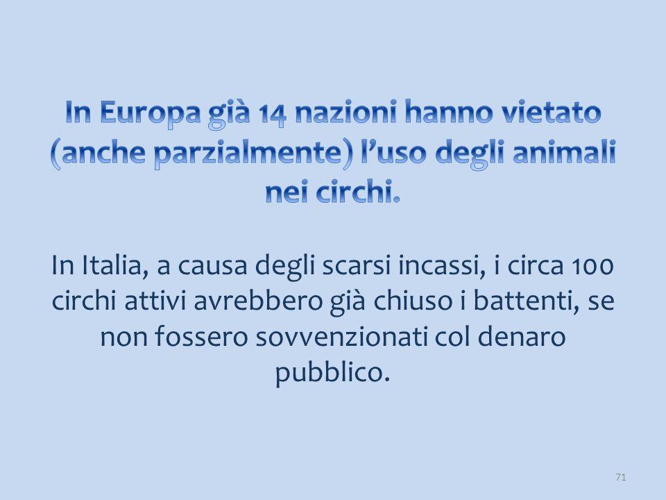 In Europa già 14 nazioni hanno vietato (anche parzialmente) l'uso degli animali nei circhi.