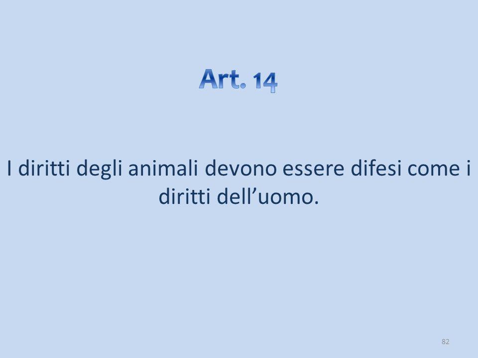 I diritti degli animali devono essere difesi come i diritti dell'uomo.