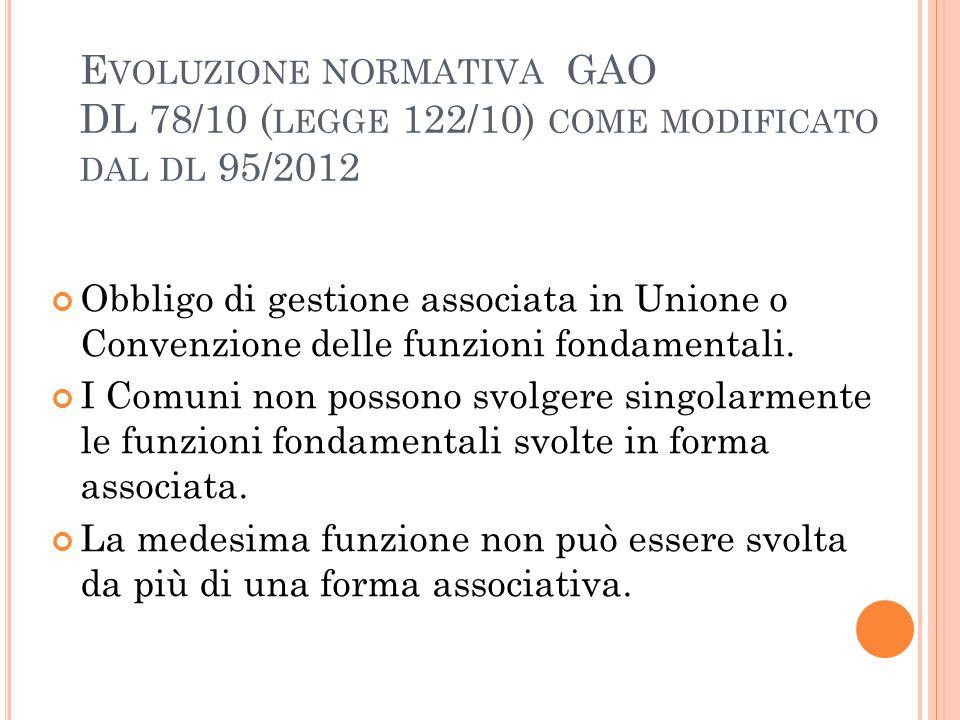 Evoluzione normativa GAO DL 78/10 (legge 122/10) come modificato dal dl 95/2012
