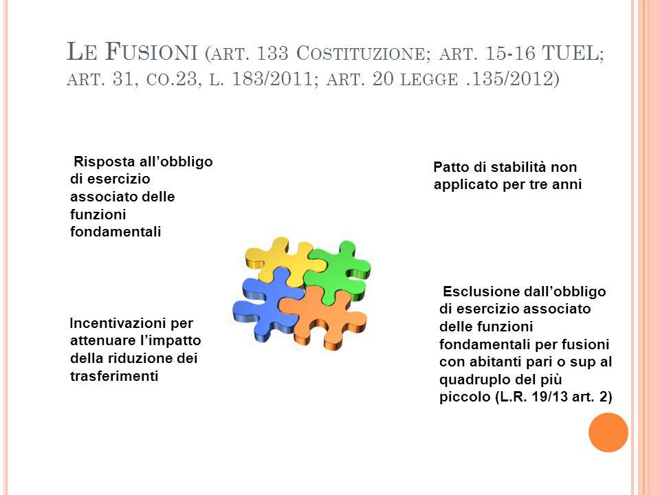 Le Fusioni (art. 133 Costituzione; art. 15-16 TUEL; art. 31, co. 23, l
