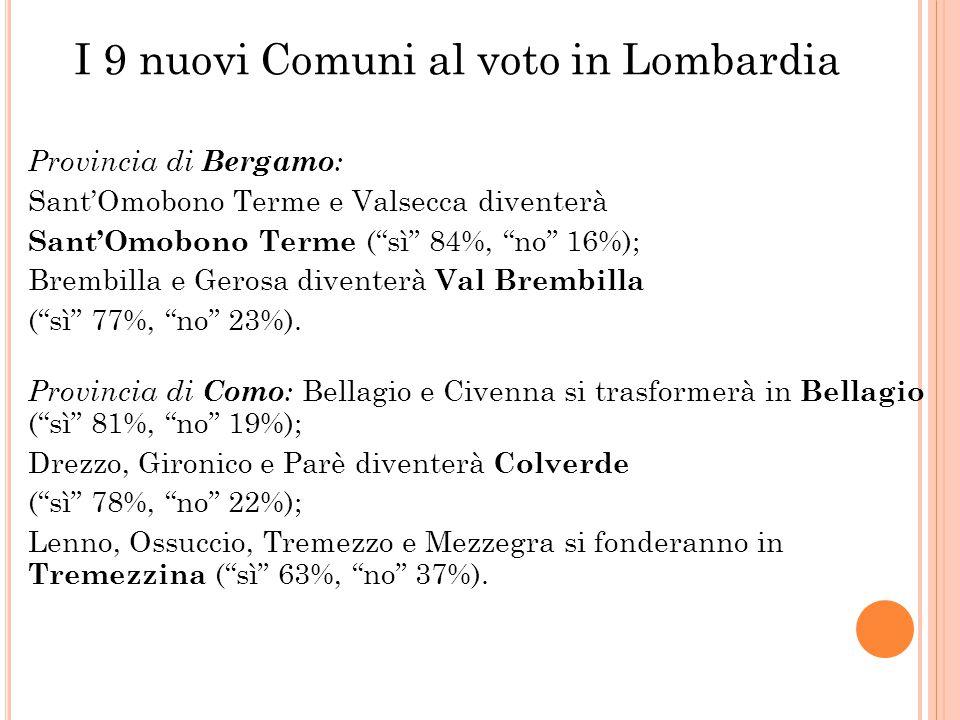 I 9 nuovi Comuni al voto in Lombardia