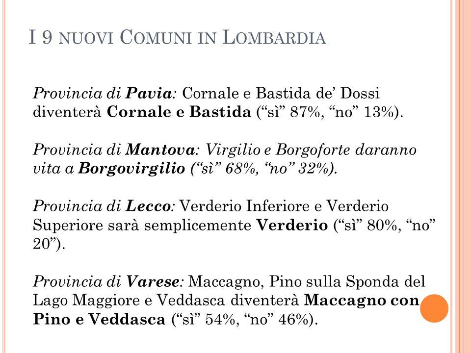 I 9 nuovi Comuni in Lombardia
