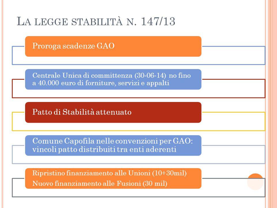 La legge stabilità n. 147/13 Proroga scadenze GAO
