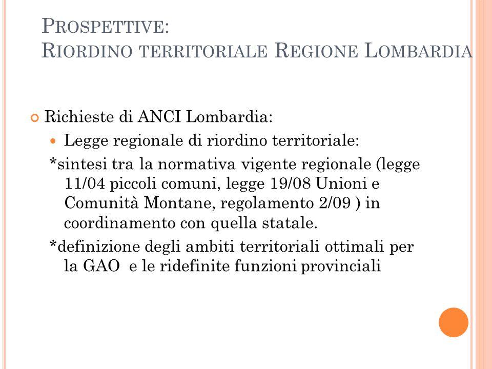 Prospettive: Riordino territoriale Regione Lombardia