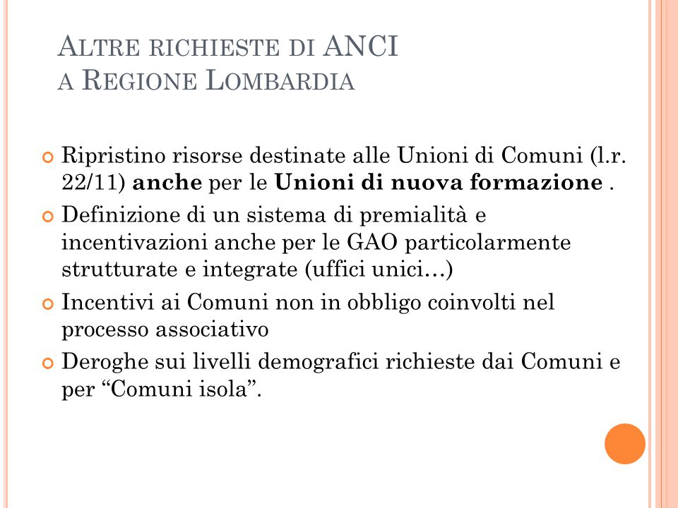 Altre richieste di ANCI a Regione Lombardia
