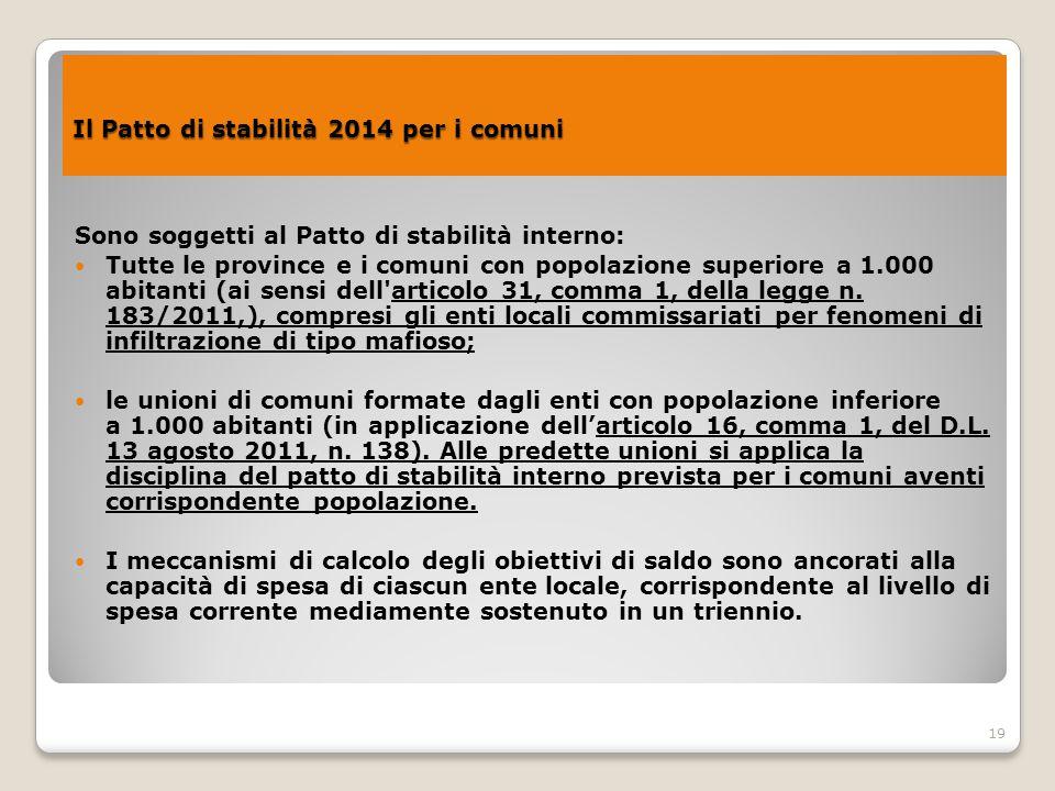 Il Patto di stabilità 2014 per i comuni