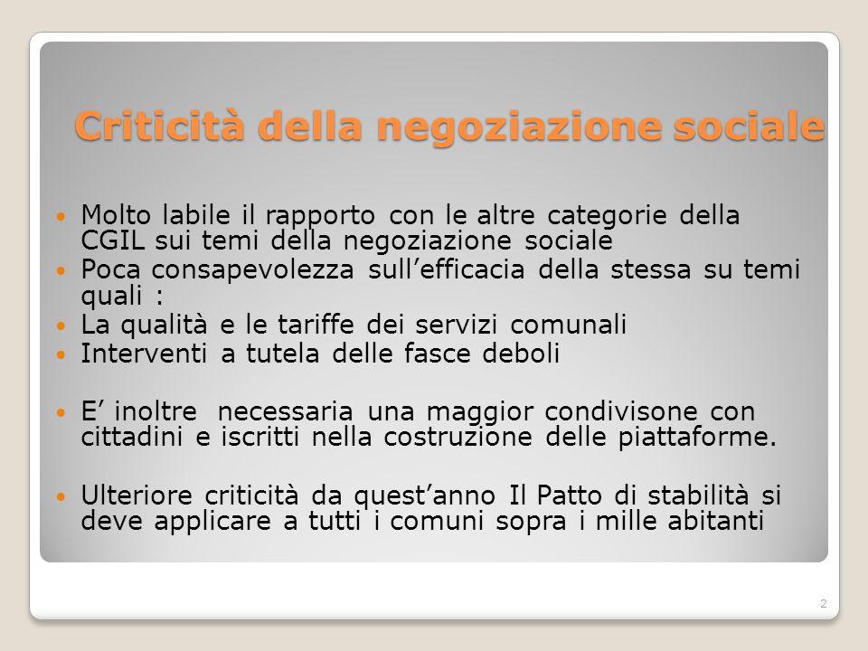 Criticità della negoziazione sociale