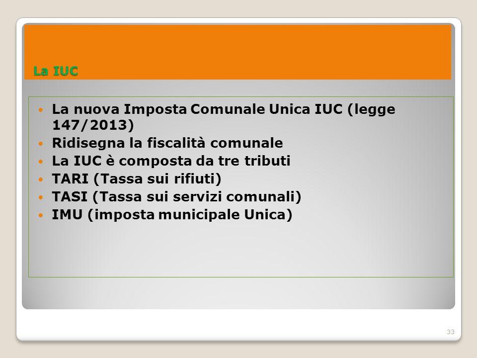 La nuova Imposta Comunale Unica IUC (legge 147/2013)