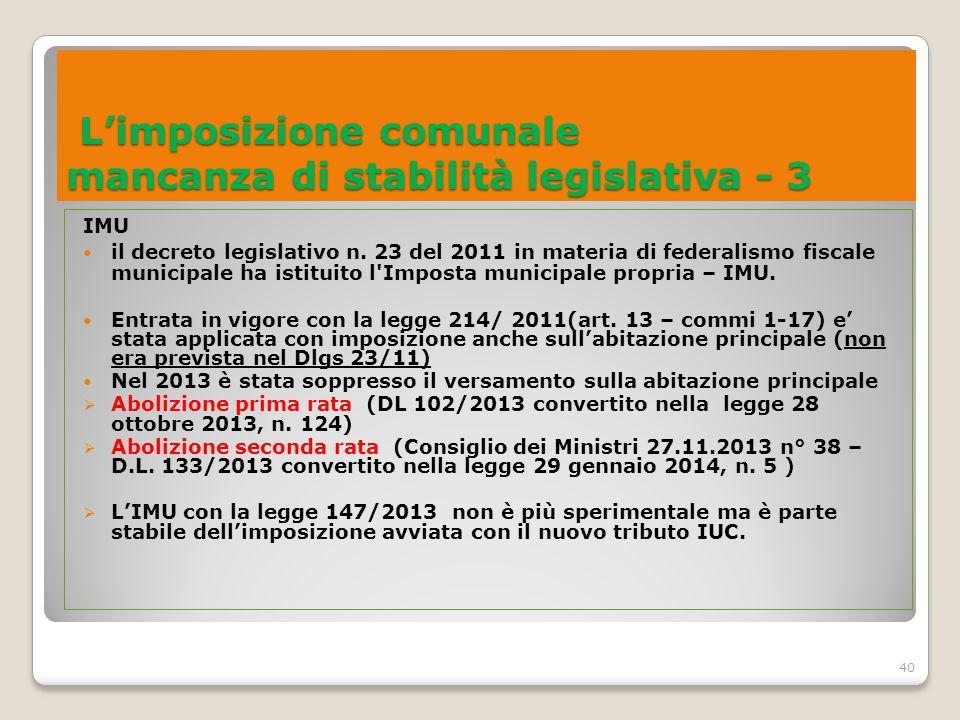 L'imposizione comunale mancanza di stabilità legislativa - 3