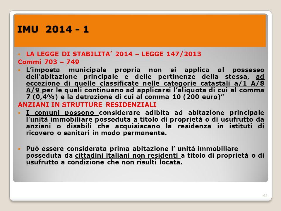 IMU 2014 - 1 LA LEGGE DI STABILITA' 2014 – LEGGE 147/2013