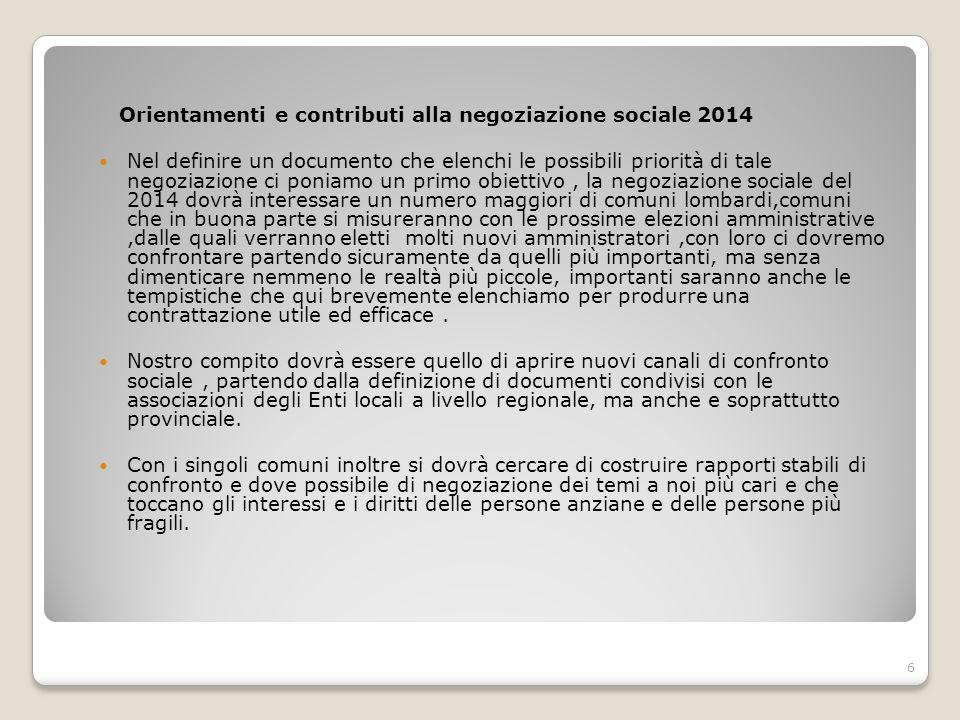 Orientamenti e contributi alla negoziazione sociale 2014