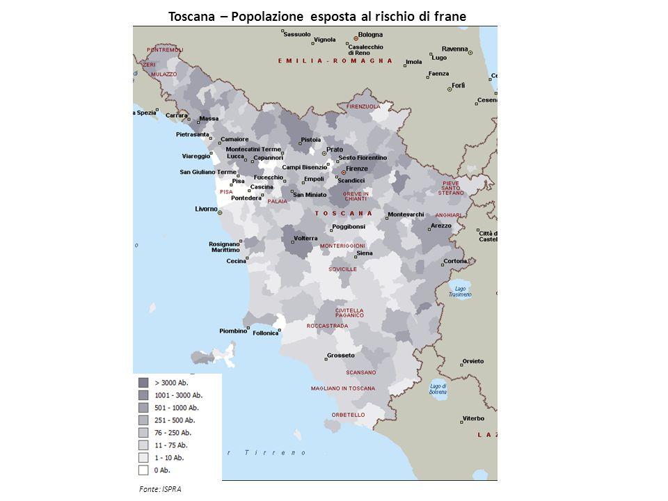 Toscana – Popolazione esposta al rischio di frane