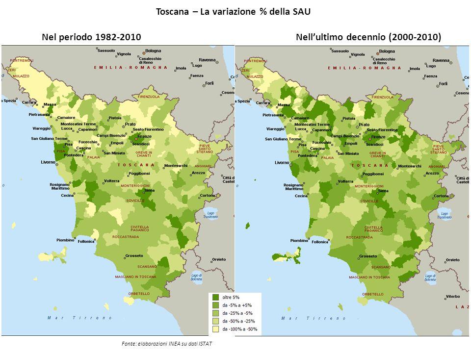 Toscana – La variazione % della SAU Nell'ultimo decennio (2000-2010)