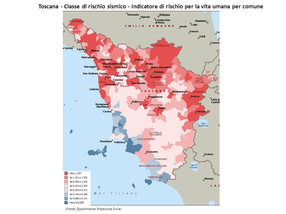 Toscana - Classe di rischio sismico - Indicatore di rischio per la vita umana per comune