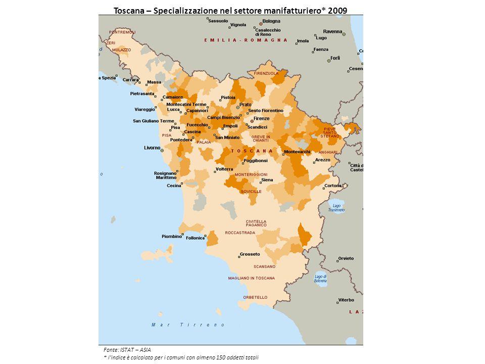 Toscana – Specializzazione nel settore manifatturiero* 2009