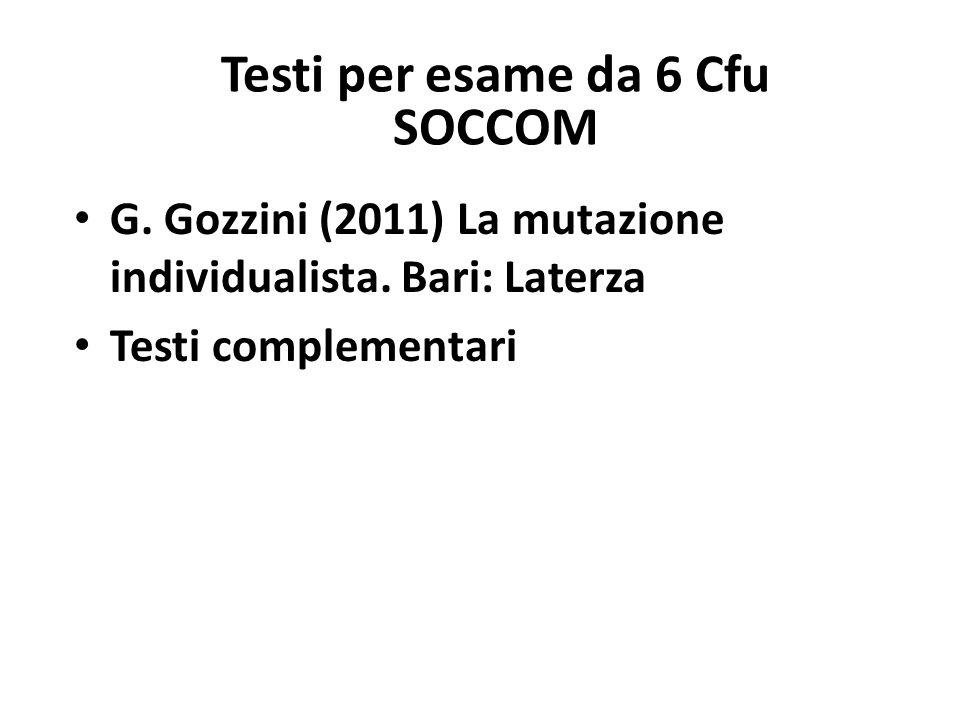 Testi per esame da 6 Cfu SOCCOM