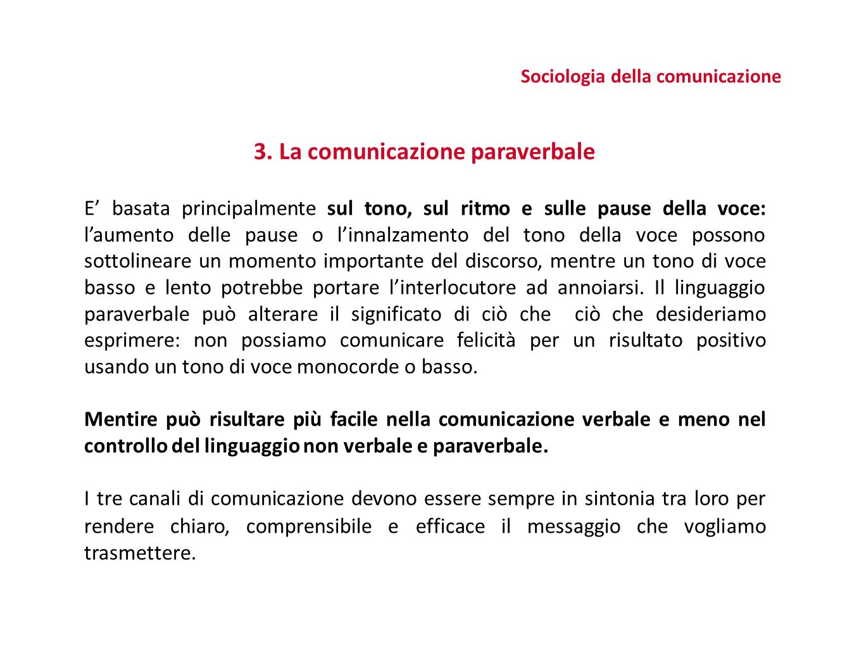 Sociologia della comunicazione 3. La comunicazione paraverbale