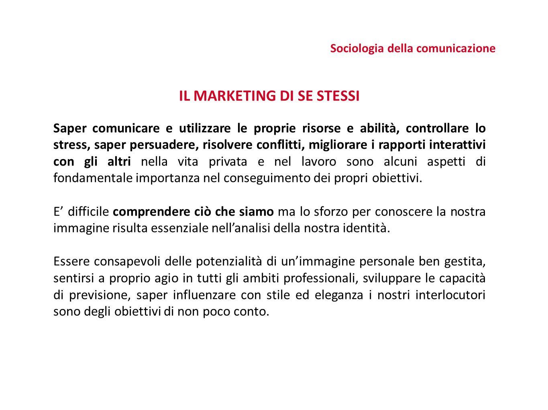 Sociologia della comunicazione IL MARKETING DI SE STESSI