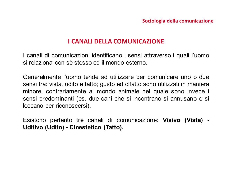 Sociologia della comunicazione I CANALI DELLA COMUNICAZIONE