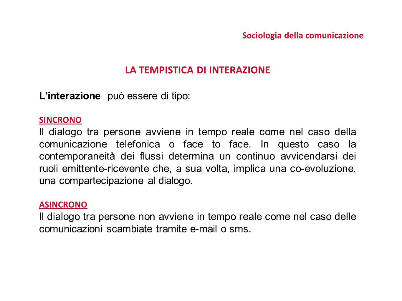 Sociologia della comunicazione LA TEMPISTICA DI INTERAZIONE