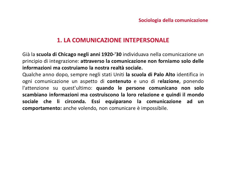 Sociologia della comunicazione 1. LA COMUNICAZIONE INTEPERSONALE