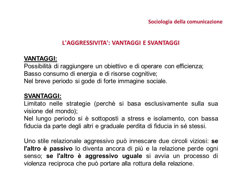 Sociologia della comunicazione L AGGRESSIVITA : VANTAGGI E SVANTAGGI