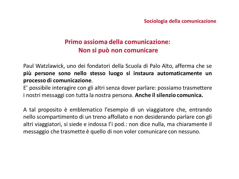 Primo assioma della comunicazione: Non si può non comunicare