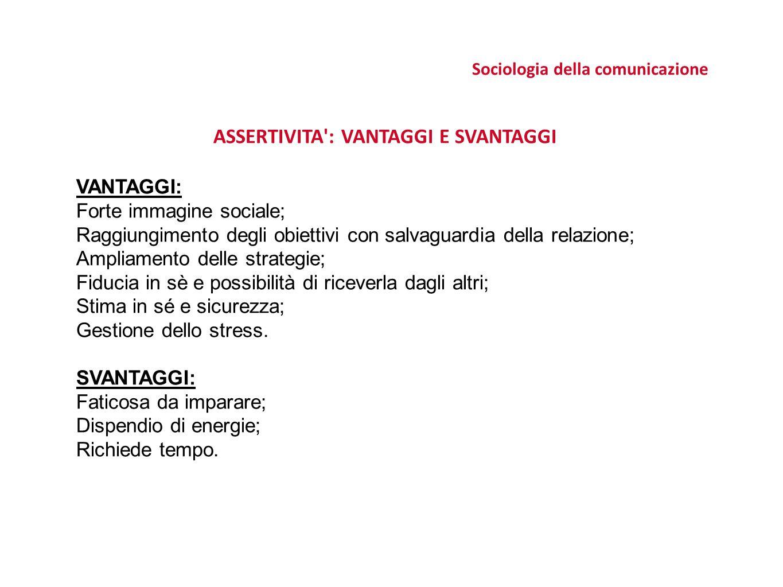 Sociologia della comunicazione ASSERTIVITA : VANTAGGI E SVANTAGGI